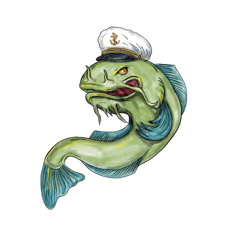 Tattoo stijl illustratie van een Captain Catfish hoed kap op geïsoleerde witte achtergrond te dragen. Stockfoto