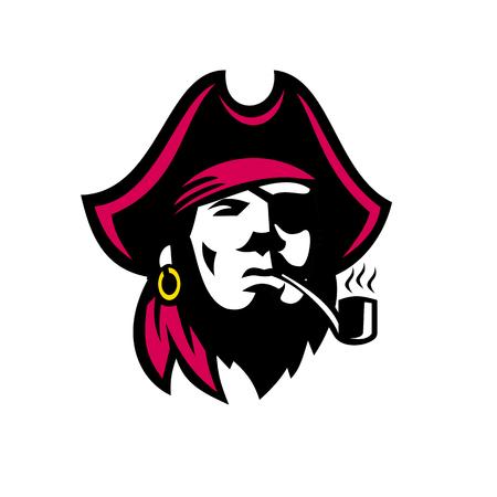孤立した背景に正面から見た喫煙パイプとバッカニアの海賊のレトロなスタイルのイラスト。