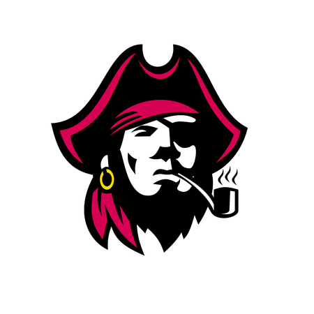 Retro style illustration of a Buccaneer pirate with Smoking Pipe viewed from front on isolated background.