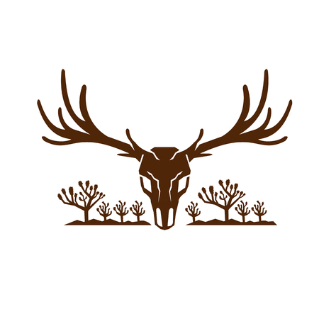 Icon style illustration of Mule Deer Skull viewed from front with Joshua Tree yucca palm and mountains in background. 版權商用圖片 - 85640887
