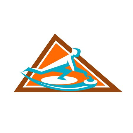 Icon style illustration of a Curling Player Sliding Stone viewed from side set inside Triangle on isolated background. Illustration
