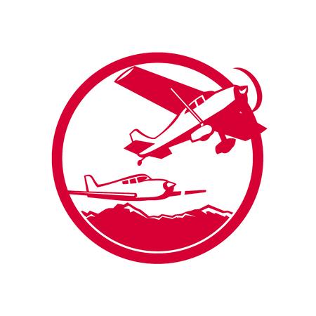 격리 된 배경에 원 안에 설정하는 백그라운드에서 산들과 함께 복용하는 두 고정 날개 항공기의 복고 스타일 그림.