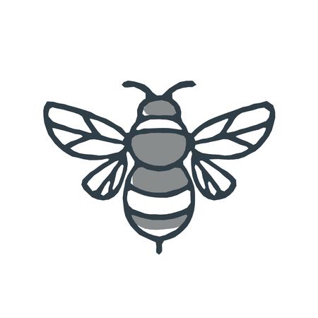 バンブルビーまたは Bombus 属のモノラルラインアイコンスタイルのイラスト、孤立した白い背景に Apidae の一部。  イラスト・ベクター素材