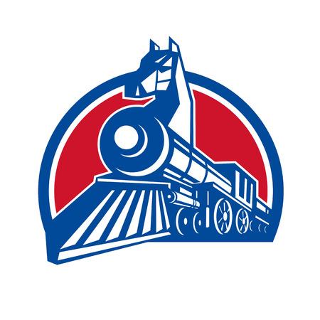 ●鉄の馬のレトロ風イラストは、孤立した背景に半円形の中にセットされた低い角度から見た弓の上に馬の頭を持つ蒸気機関車の機関車です。