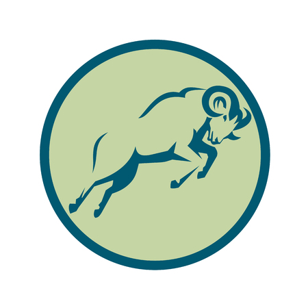 Icon style illustration of s Mountain Sheep Jumping viewed from side set inside Circle on isolated background. Ilustração