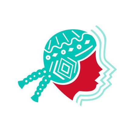 격리 된 배경에 에코 사운드 볼륨 기호 측면에서 볼 모자를 쓰고 페루 소녀의 아이콘 스타일 그림 일러스트