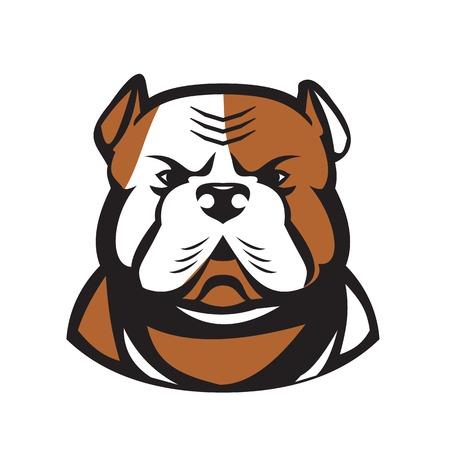 アメリカのブルドッグヘッド、独立した背景に正面から見たユーティリティ犬の品種のレトロなスタイルのイラスト。