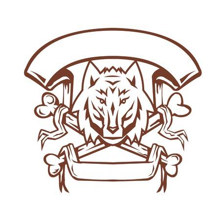 狼イヌのレトロなスタイルのイラストそれの下にある狼瘡の頭の十字架とバナーは、孤立した背景にスクロールします。  イラスト・ベクター素材