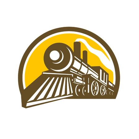 ●孤立した背景に円の中に設定された低角度から見た蒸気機関車鉄道列車のアイコン風イラスト。