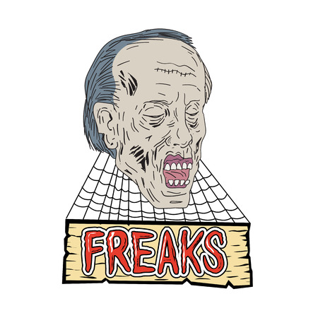 Drawing sketch style illustration of zombie the evil undead head with cobwebs and wooden banner and text Freaks on isolated background.
