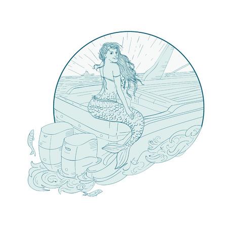 図面スケッチ イラスト人魚サイレンのボートのトランサムに座っては孤立した背景にサークル内に設定。