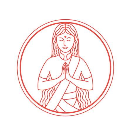 인도 스타일 여자 그림 나바호 제스처 숙이 고 손을 함께 누르면, 손바닥 만지고 손가락 위쪽으로 가리키는 원 안에 설정합니다.