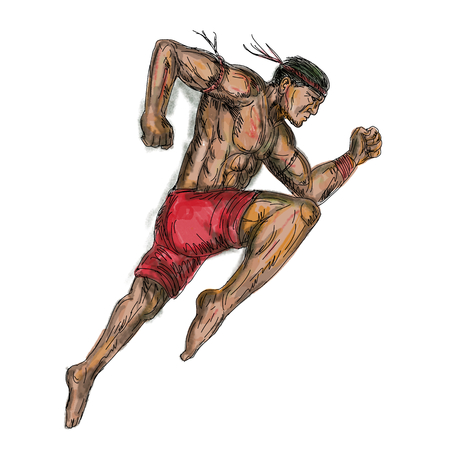 Tattoo style illustration of a muay thai asian Thai boxing fighter jumping about to kick viewed from side on isolated background. Фото со стока