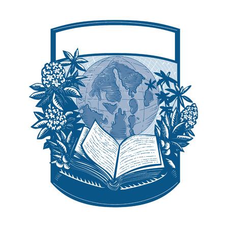開いた本とオーカス島の世界地図のレトロなスタイルのイラストがシャクナゲの花と囲まれ、葉植物紋シールド内部のセット。
