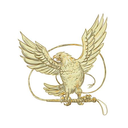 L'illustrazione di stile di schizzo del disegno di una frusta Unida-munita di Eagle Clutching Bullwhip ha osservato dalla parte anteriore su priorità bassa isolata. Archivio Fotografico - 86911894