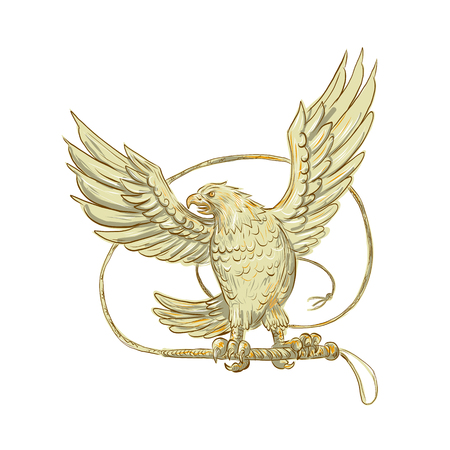 Drawing sketch style illustration of an Eagle Clutching single-tailed Bullwhip whip viewed from front on isolated background.