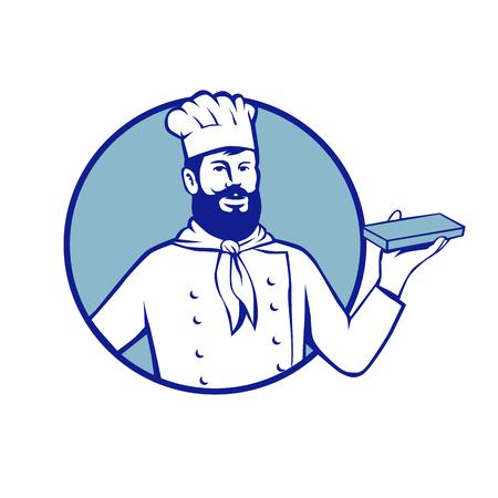 ヒップスター ベーカー シェフのレトロなスタイルのイラスト調理チョコレート ブロック分離背景に円の中に設定を保持します。