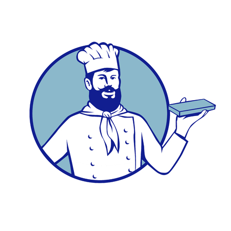 Retro style illustration of Hipster Baker chef cook Holding up Chocolate Block set inside circle on isolated background.