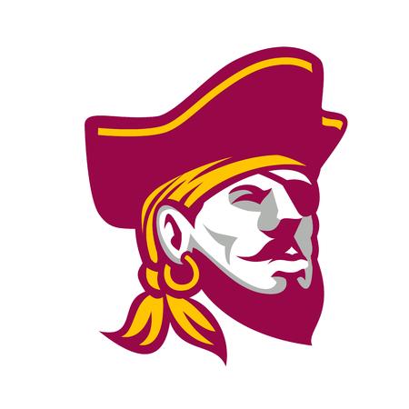 Illustration de style icône d'un flibustier, d'un corsaire ou d'un pirate appartenant à la mer des Caraïbes portant un tricorne sur fond isolé. Banque d'images - 86911901