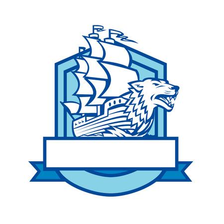 Retro-stijl illustratie van een galjoen zeilschip met Wolf in boog ingesteld binnen schild Crest op geïsoleerde achtergrond.