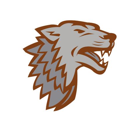 De illustratie van de pictogramstijl van een het Ontschorsen grommende boze Grijze die Wolf van kant op geïsoleerde achtergrond wordt bekeken. Stockfoto - 86911905