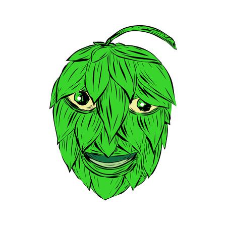 Zeichnungsskizzen-Artillustration eines Hopfenmannes oder des Lächelns des grünen Mannes, die von der Front auf lokalisiertem Hintergrund angesehen werden. Standard-Bild - 86911906