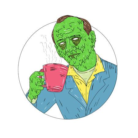 Illustrazione di stile di arte di Grime di un signore asiatico che beve Coffee set all'interno del cerchio su backgound isolato.