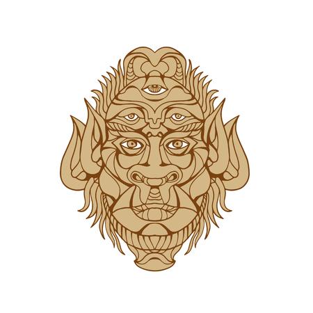 다섯 아이드 신화 괴물 머리의 드로잉 스타일 그림 정면에서 볼