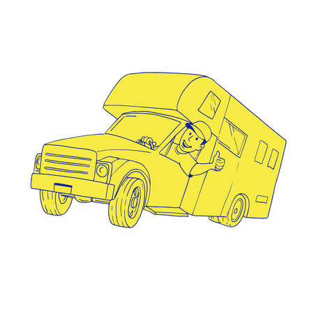 Cartoon style illustration of a Driver Thumbs Up driving Camper Van caravan Cartoon Ilustração