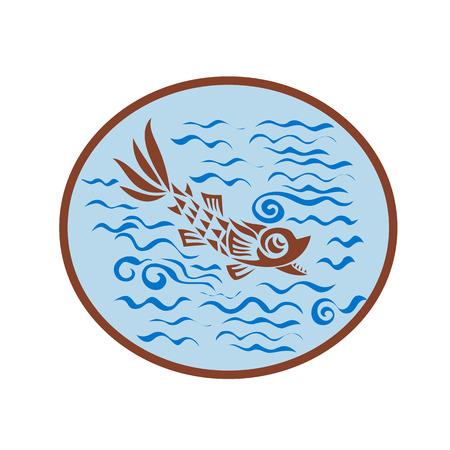 海の水の分離の背景に楕円形の内部設定で中世魚の水泳のレトロなスタイルのイラスト。