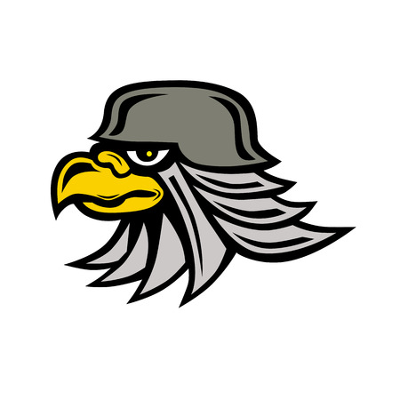 Icon style illustration of an armored Iron Eagle head wearing helmet viewed from side on isolated background.