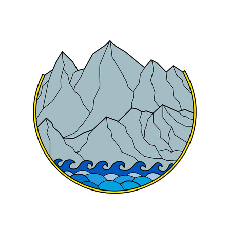 Mono lijnstijl illustratie van een ruige bergketen met zee golven breken op de wal instellen binnen cirkel op geïsoleerde achtergrond. Stock Illustratie