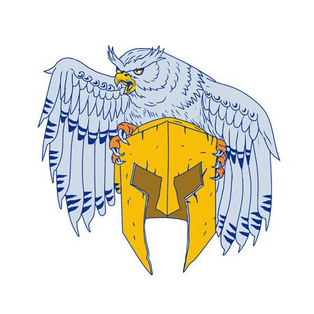 Tekening schets stijl illustratie van een Amerikaanse gehoornde uil of oude wereld adelaar-uil van het geslacht Bubo geklemd neerstrijken op een Spartan helm op geïsoleerde achtergrond.