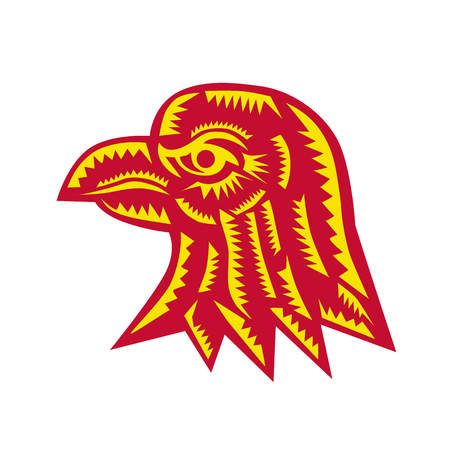 Retro woodcut style illustration of an eagle head viewed from side on isolated background. Illustration