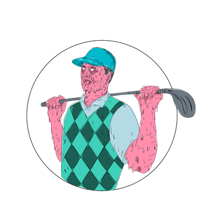 Grime art style illustration of a Golfer wearing vest holding Golf Club on shoulder set inside Circle on isolated background.