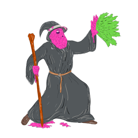 Grime art style illustration of a Wizard sorcerer holding wooden staff Casting Spell on hand splat on isolated background.