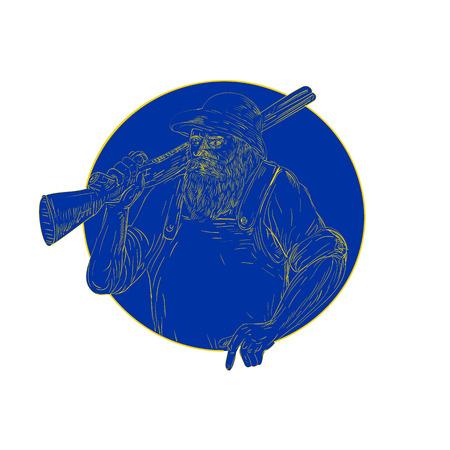 レトロな木版画イラストひげを生やしたハンター着て帽子持株散弾銃のライフル肩に円の中に孤立した背景に設定。