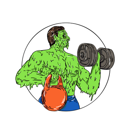 Grime art style illustration of an athlete physical fitness buff lifting dumbbell and kettlebell set inside circle. 向量圖像