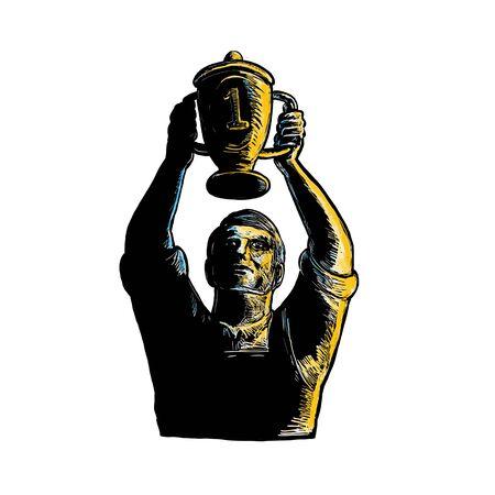 챔피언십 트로피 컵 우승 하 고 발생시키는 작업자의 woodcut 스타일 그림 격리 된 배경 앞에서 볼.