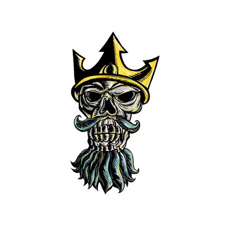Illustrazione di legno a forma di stelo di testa del cranio di Nettuno, Poseidone o Triton indossando una corona tridente con vista frontale della barba fluente su sfondo isolato. Archivio Fotografico - 87824022