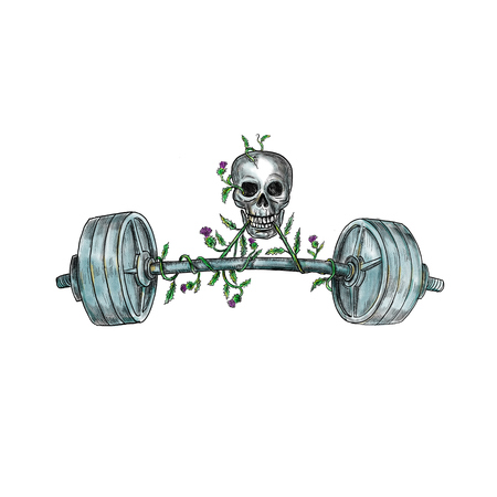격리 된 배경에 스코틀랜드 엉 겅 퀴의 포도 나무와 무거운 무게 바 벨 리프트 두개골의 문신 스타일 그림. 스톡 콘텐츠