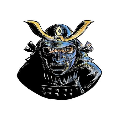 얼굴 갑옷 마스크를 착용하는 사무라이 전사의 woodcut 스타일 그림 mempo 또는 mengu라는 전면에서 볼 스톡 콘텐츠