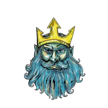 격리 된 배경에 흐르는 수염 전면 뷰와 함께 트라이던트 왕관을 착용하는 해왕성, 포세이돈 또는 트리톤의 머리의 woodcut 스타일 그림.
