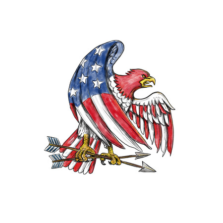 Tattoo style illustration of an American Bald Eagle with USA stars and stripes flag on body and wing clutching arrow on isolated background.