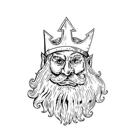 Retro woodcut style illustration of head of Poseidon, Neptune or Triton  Wearing Trident Crown viewed from front done in black and white.