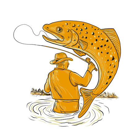 Drawing sketch style illustration of a Fly Fisherman fishing Reeling a spotted brown Trout jumping viewed from rear on isolated background.