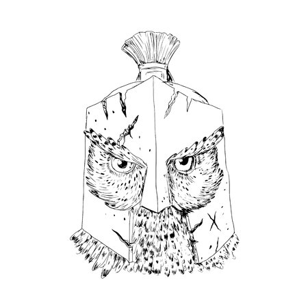 Drawing sketch style illustration of a Great Horned Owl wearing Spartan cracked battle-worn Helmet viewed from front done in black and white.