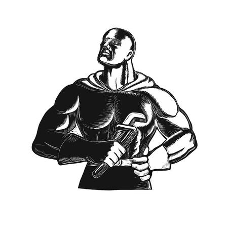 モンキー レンチまたは分離の背景に黒と白で行うガス グリップ保持を探してスーパー ヒーロー配管工のレトロな木版画スタイル イラスト。