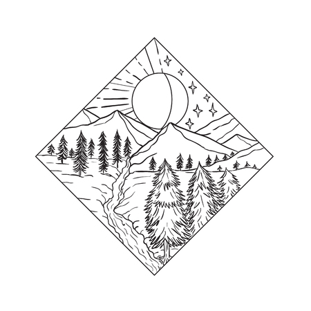 Mono line illustration of Night and Day Sun and Moon stars with mountain river and trees set inside diamond shape on isolated background done in black and white.