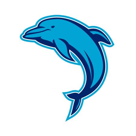 Illustration de style rétro d'un dauphin bleu sautant sur fond isolé.